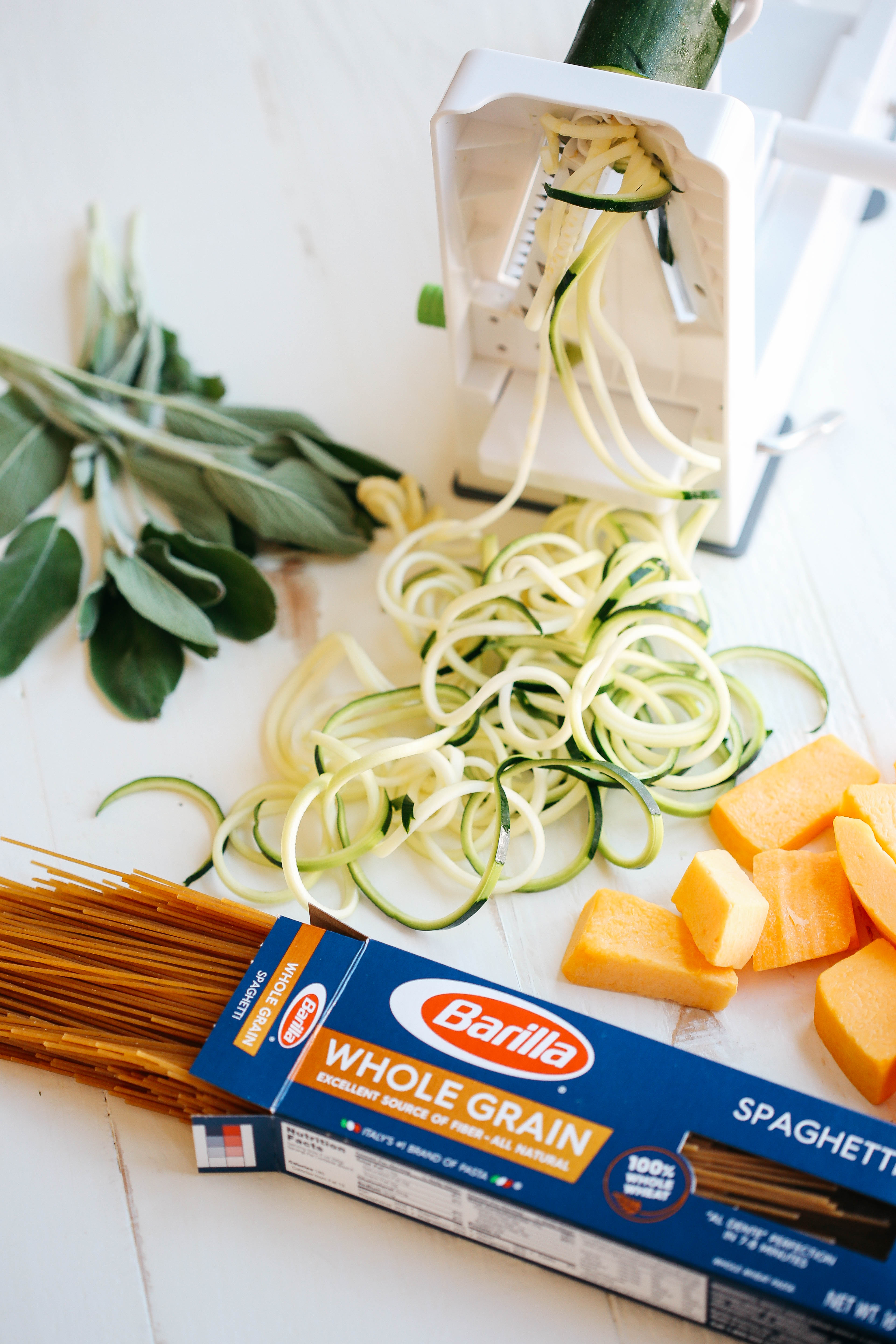 This Butternut Squash & Sage Spaghetti with Zucchini Noodles that is vegan, dairy-free and can easily be made in just 30 minutes using a few simple healthy ingredients!