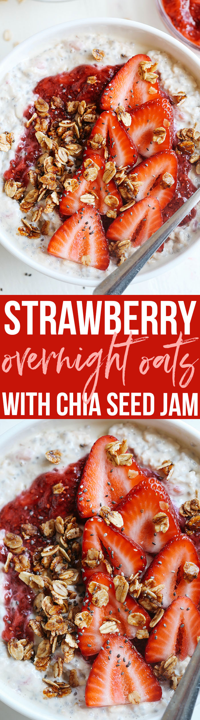 These Strawberry Chia Overnight Oats with homemade chia seed jam are easily made in just minutes the night before giving you a delicious healthy breakfast to enjoy as soon as you wake up!