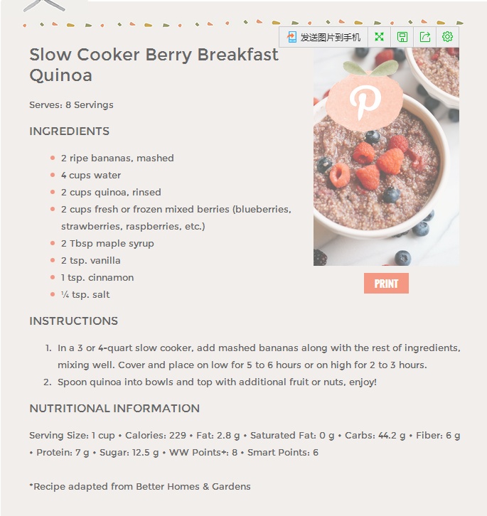 Slow Cooker Berry Breakfast Quinoa
