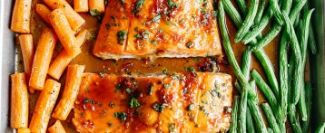 Sheet Pan Ginger Soy Glazed Salmon
